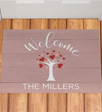 Personalized Welcome Hearts Tree Doormat
