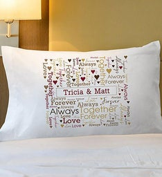 Loving Couple Word-Art Pillowcase