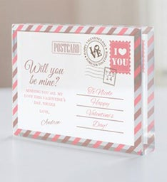 Personalized Be Mine Postcard Beveled Keepsake