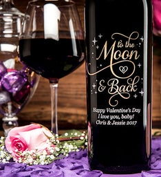 Engraved To The Moon  Back Wine Bottle