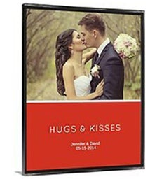 Hugs  Kisses Pink Framed Canvas