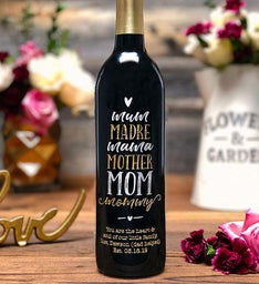 Universal Mom Personalized Wine Bottle