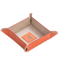 Personalized Orange Leather Square Valet