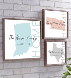 Personalized Home State Framed Wall Sign