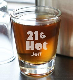 Hot Shot 21st Birthday Personalized Shot Glass