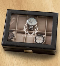 Monogrammed Black Leather Watch Box