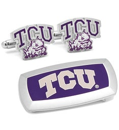 TCU Horned Frogs Cufflinks and Money Clip Gift Set