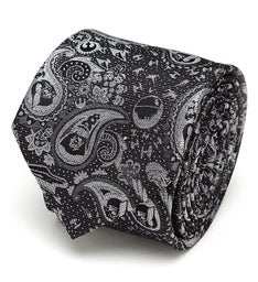 Vader Paisley Black and White Mens Tie