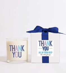 Personalized Colorblock Thank You Candle