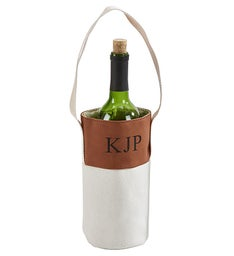 Personalized LeatheretteCanvas Wine Tote