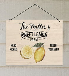 Personalized Sweet Lemon Farm Wall Sign