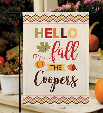 Personalized Hello Fall Garden Flag