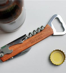 Custom Engraved Groomsmen Dots Can  Wine Opener