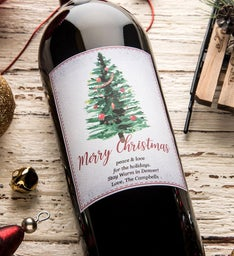 Classic Christmas Personalized Labeled Wine
