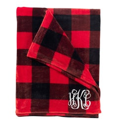 Personalized Red Check Blanket