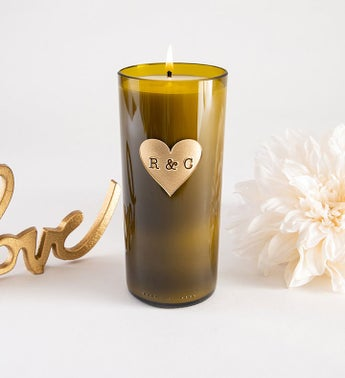 Heart Monogram Personalized Candle
