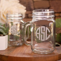 Personalized Original Monogram Mason Jar Mug