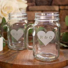 Personalized Heart Monogram Mason Jar Mug