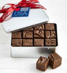 Simply Chocolate Patriotic Fudge Tin