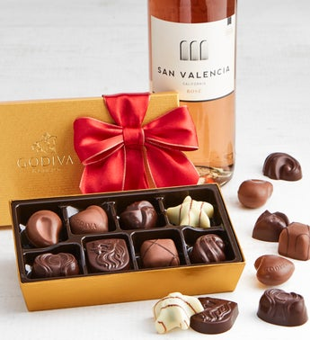 Godiva 8pc Holiday Ballotin with Ros Wine