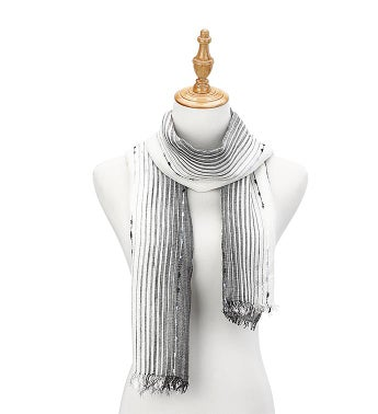 Tufted Striped Scarf