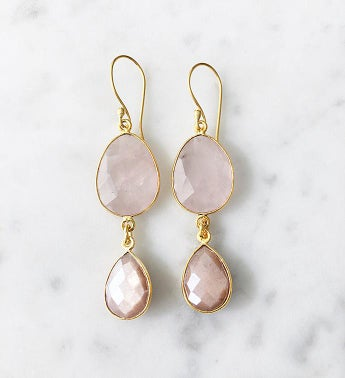 Rome Earrings Rose Quartz and Peach Moonstone