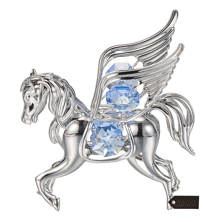 Crystal Studded Flying Pegasus Ornament