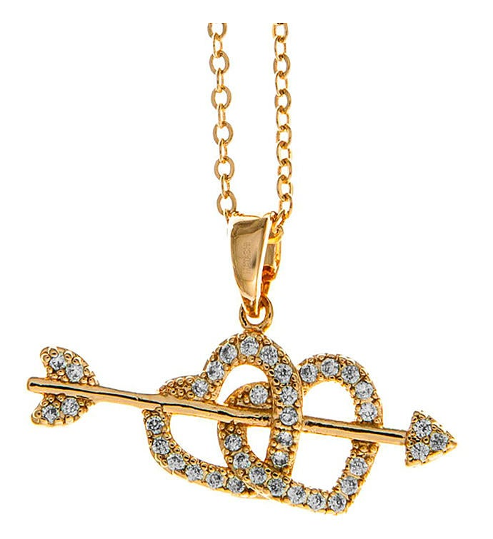 Cupids Arrow Heart Design Pendant Necklace