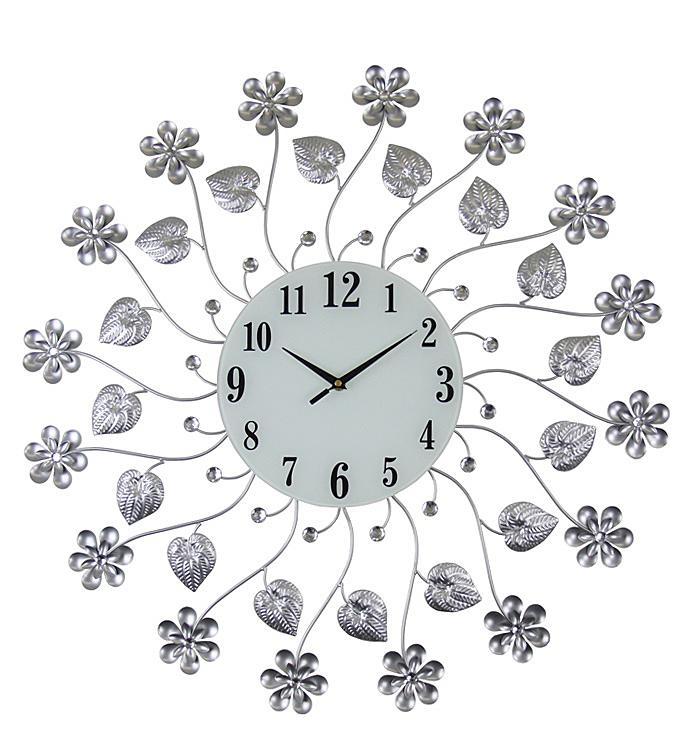 Silver Flowers Wall Clock