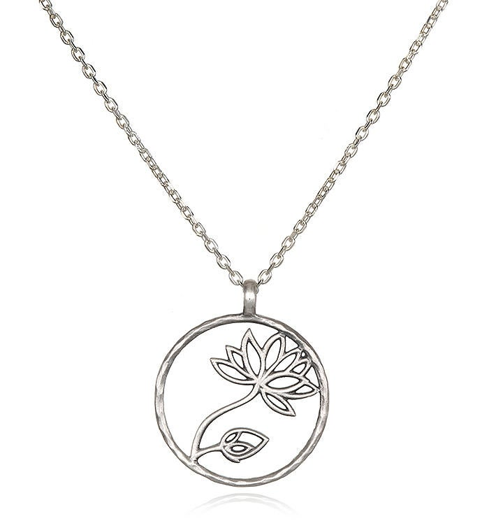 Sterling Silver Lotus Cutout Pendant Necklace