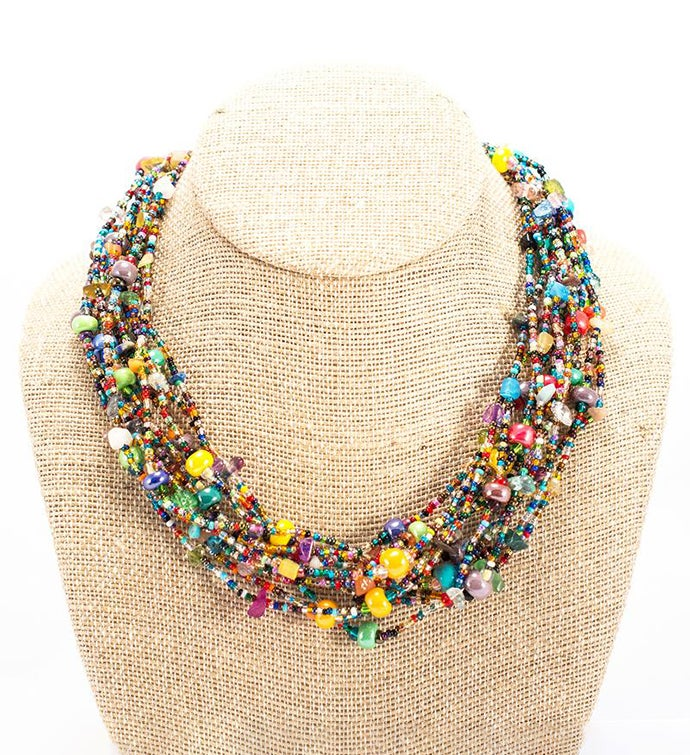 Guatemalan 12-Strand Beaded Beach Ball Necklace