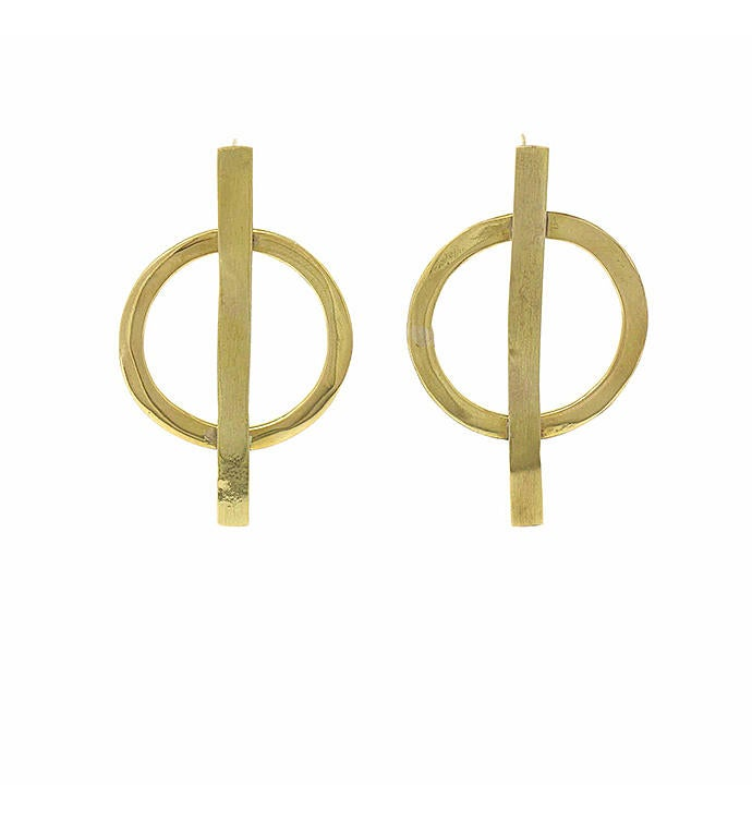 Handmade Brass Minimalist Geometric Bisected Earrings