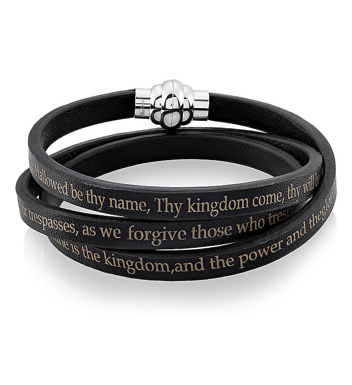 Stainless Steel  Leather Lords Prayer Wrap Bracelet