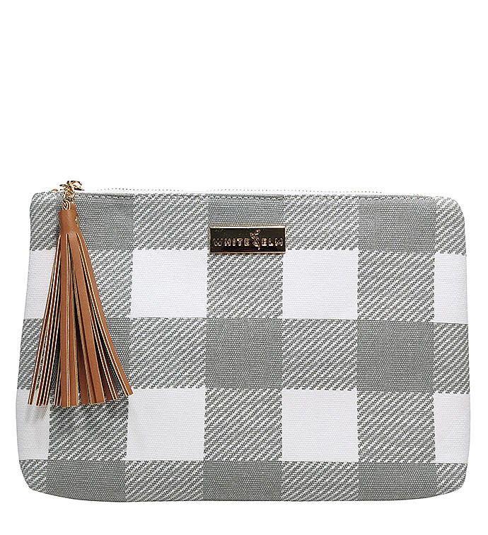 White Elm Lyra Tablet Clutch Bag in Gray Buffalo Check