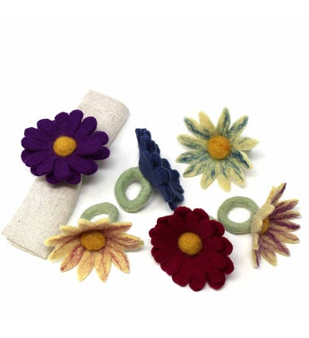 Handmade Felt Napkin Rings  Daisies Set Of 6