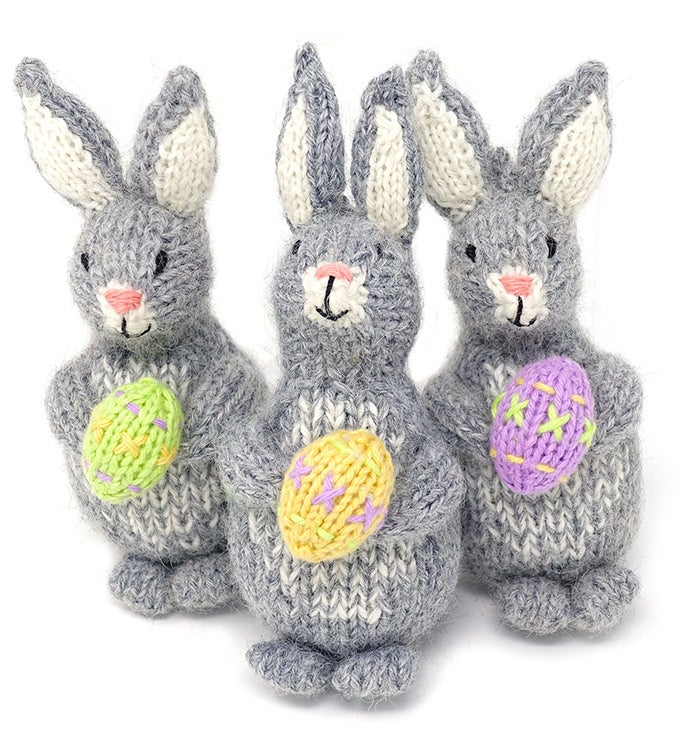 Bunny with Easter Egg Ornaments - Set of 3