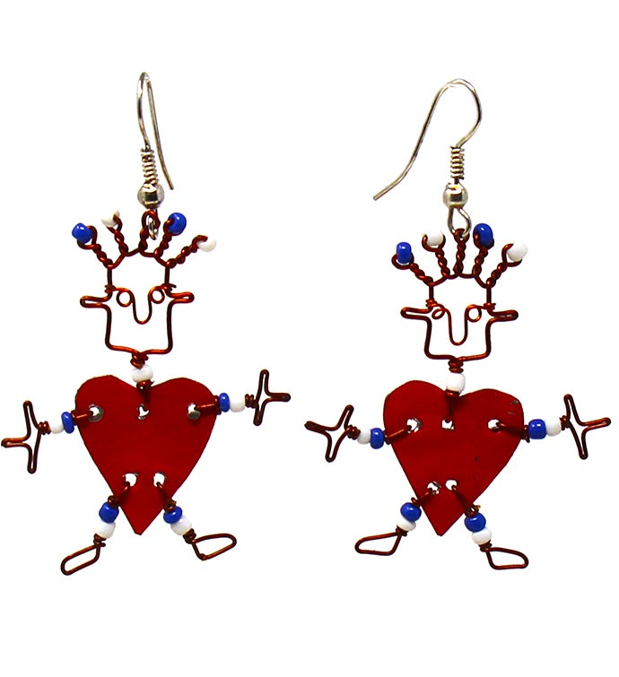 Recycled Tin Dancing Heart Dangle Earrings