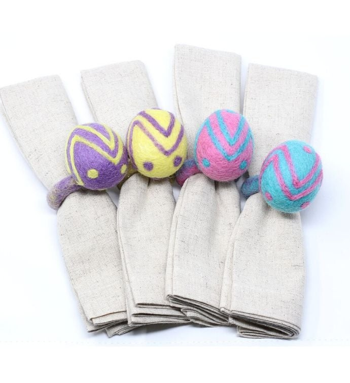 Handmade Felt Easter Egg Napkin Rings Set Of Four