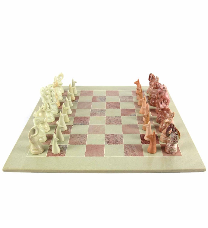 Hand-carved Soapstone Chess Set Animal Pieces