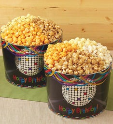Birthday Glitz 2 Gallon Popcorn Tins & Snack Assortments