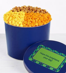 Solid Blue Popcorn Tin