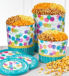 Say It With Dots Happy Birthday Popcorn Tins
