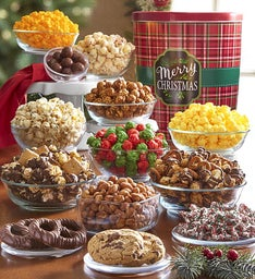 Merry Christmas Plaid Tin Premium Snack Assortment