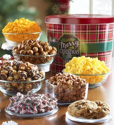 Merry Christmas Plaid Tin Grand Snack Assortment