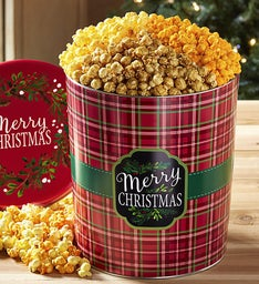 Merry Christmas Plaid 3-1/2 Gallon Pick-a-Flavor Popcorn Tins