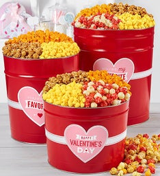 Simply Red Valentine's Day Greeting Popcorn Tins