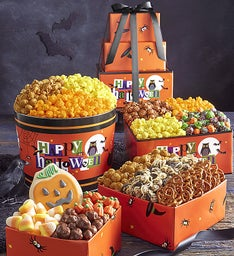 Happy Halloween 3 Tier Tower and Popcorn Tin