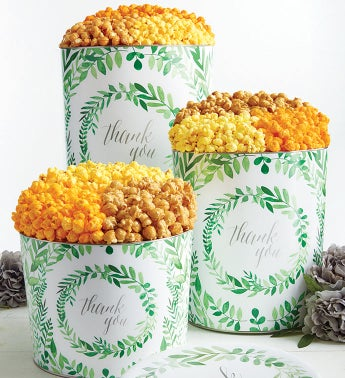 Green Floral Thank You 3 Flavor Popcorn Tins