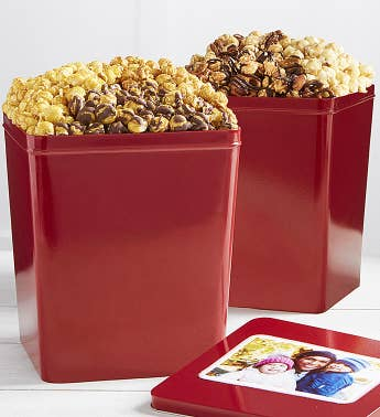 Set Of 2 Popcorn Tins Caramel Trio  Nutty Trio Popcorn