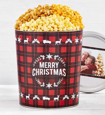 Very Merry Plaid Merry Christmas Popcorn Tins